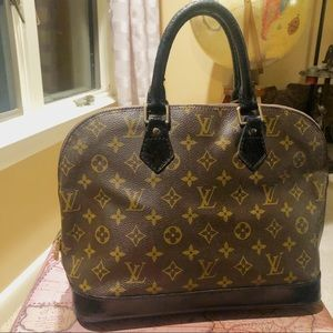 Louis Vuitton Alma Bag Purse Black Painted LV